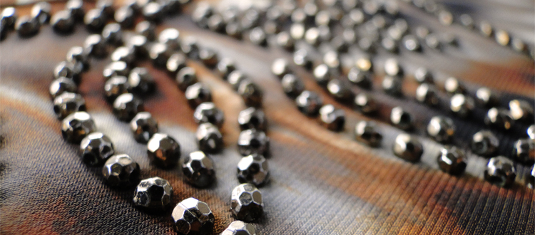 metallic faceted bead neckline design