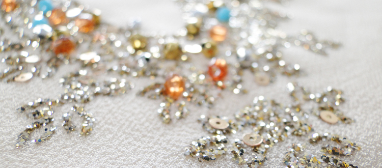 glitter printing with sequins and faceted beads